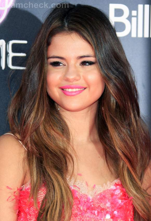 Selena Gomez copper highlights
