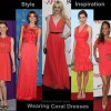 Style inspiration wearing coral dresses gowns