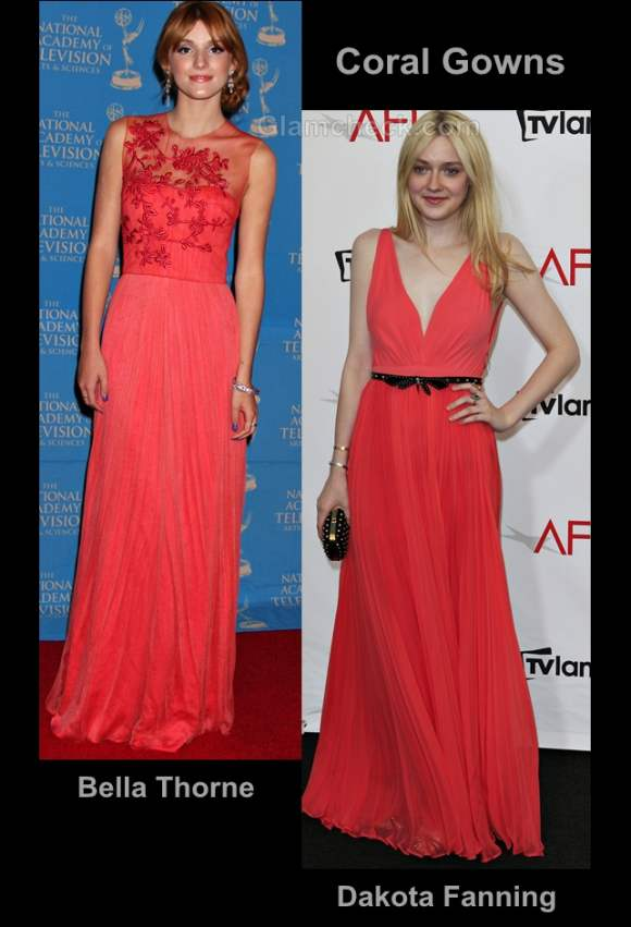 Style inspiration wearing coral gowns