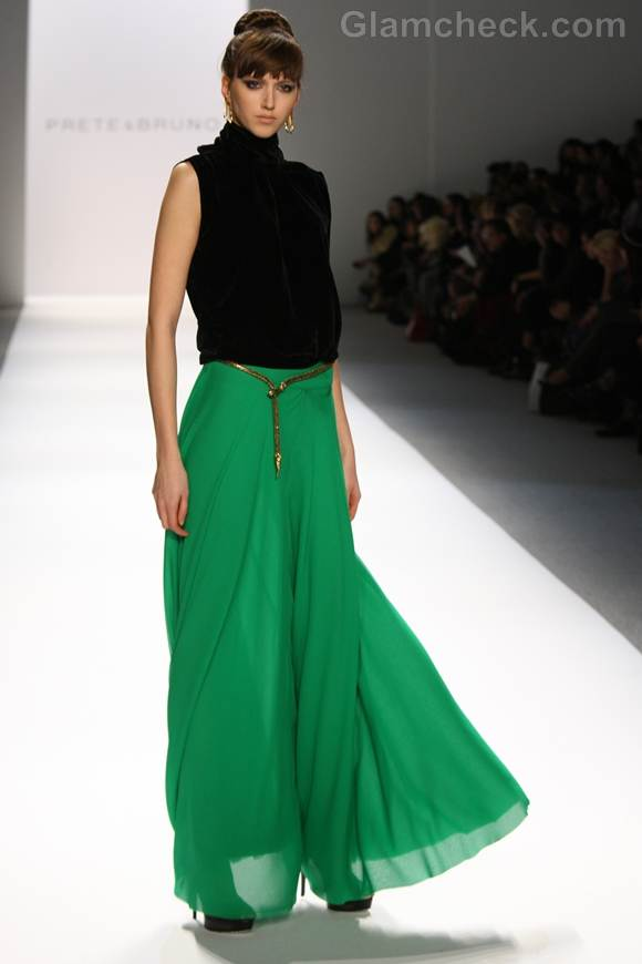Style pick green maxi skirt prete and bruno Fall 2012
