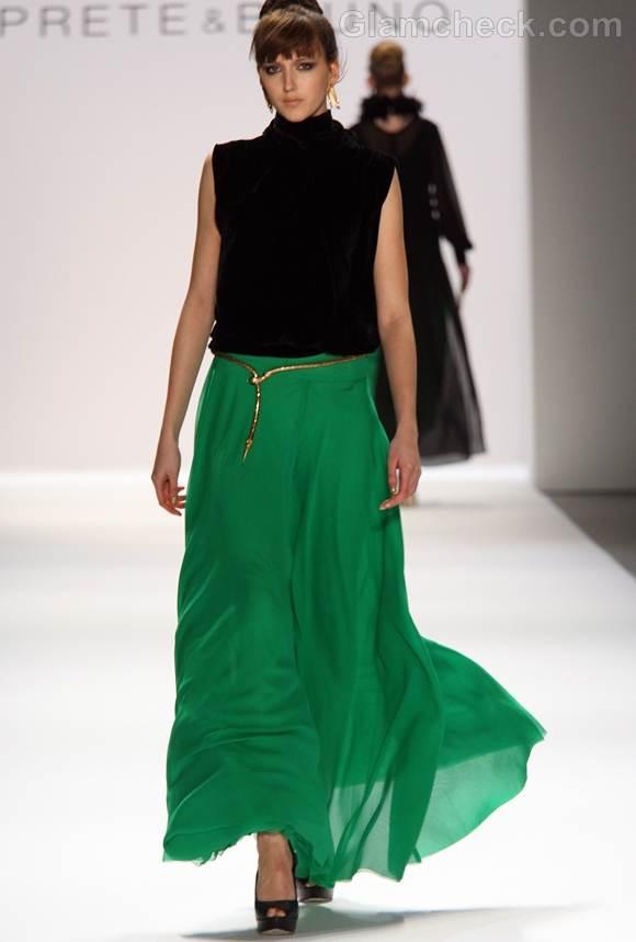 Style pick green maxi skirt prete and bruno Fall winter 2012