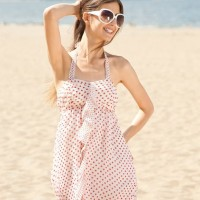 Style picture beige babydoll dress with red polka dots