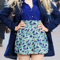 Style picture blue outfit with black accessories