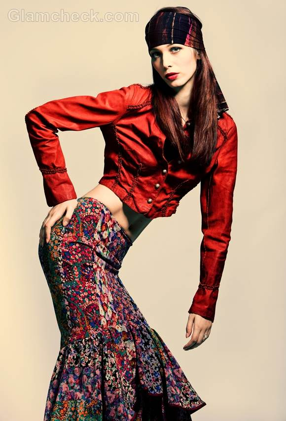 Style picture how wear multiprint gypsy skirt red cropped jacket