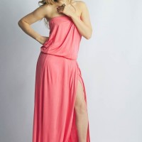 Style picture off shoulder floor length gown pink