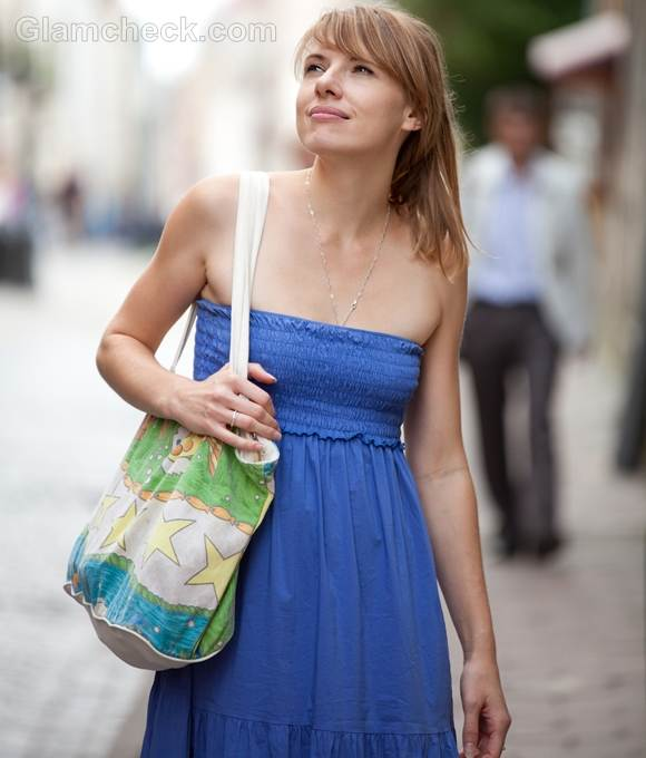 Style picture strapless blue maxi dress