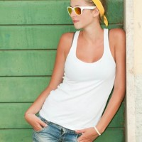 Style picture white vest denim shorts