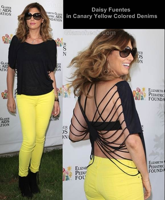 canary yellow colored denims style daisy fuentes