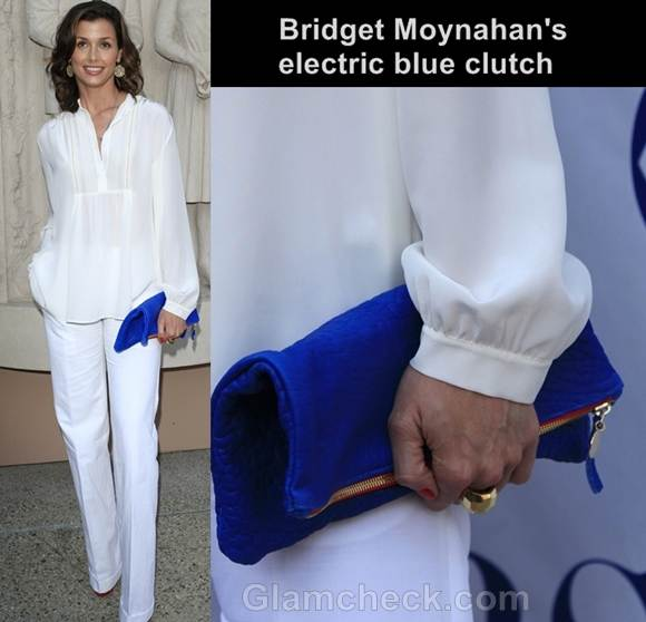 electric blue clutch with white outfit bridget moynahan