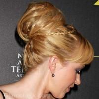 messy top bun braid hairstyle adrienne frantz