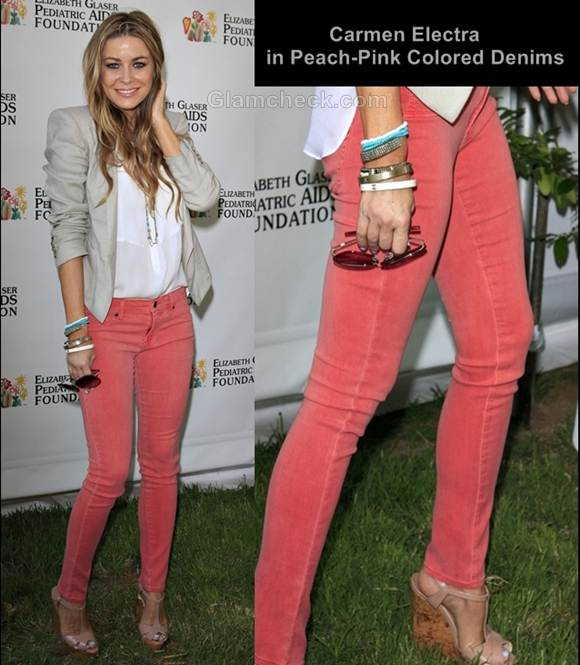 peach pink colored denims style carmen electra