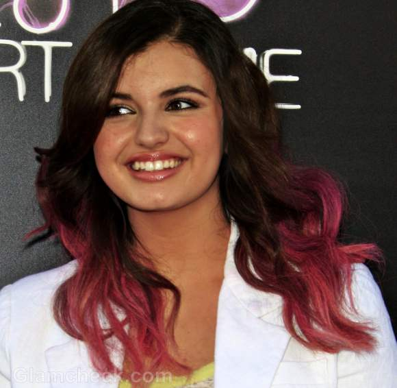 pink dip dyed two toned hair rebecca black