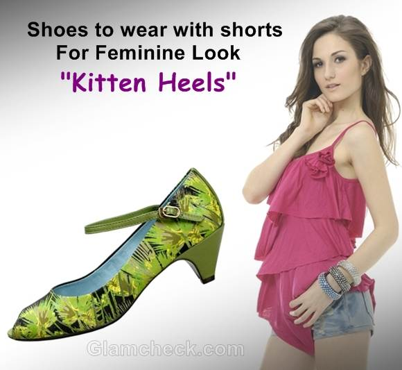 shoes to wear with shorts kitten heels