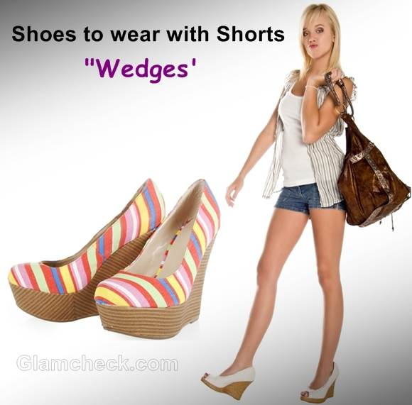 shoes wear with shorts wedges