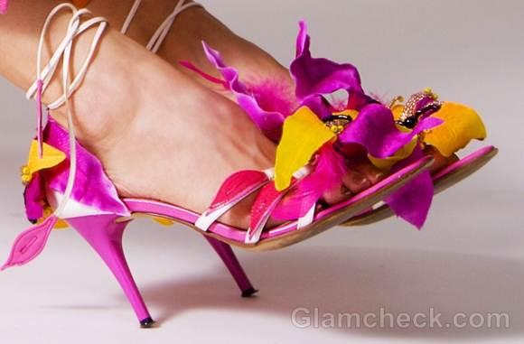 tropical floral sandals