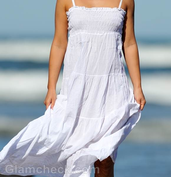 white maxi dress style picture