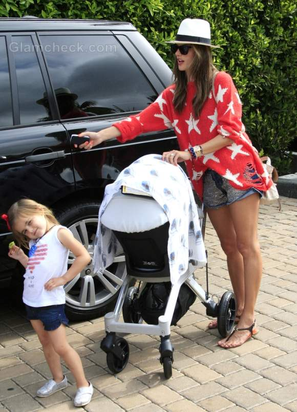 Alessandra Ambrosio with her kids