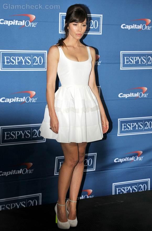 Jessica Biel in little white dress at 2012 ESPY Awards