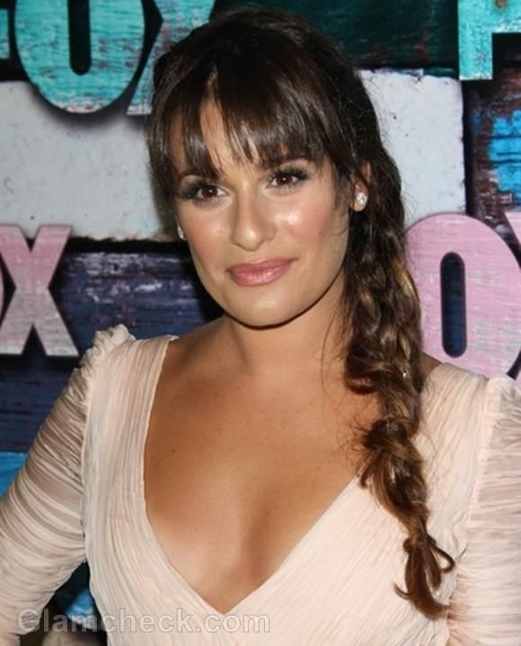 Lea Michele side-braid-hair