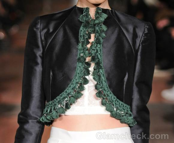 Style pick tassel trim shrug Victor de Souza fall 2012