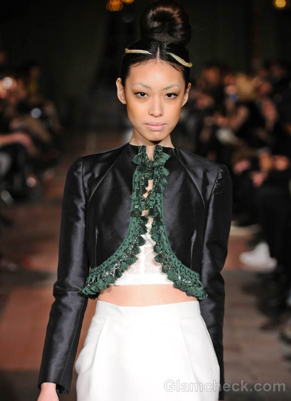 Style pick tassel trim shrug by Victor de Souza fall 2012