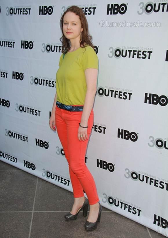 color blocked look Thora Birch