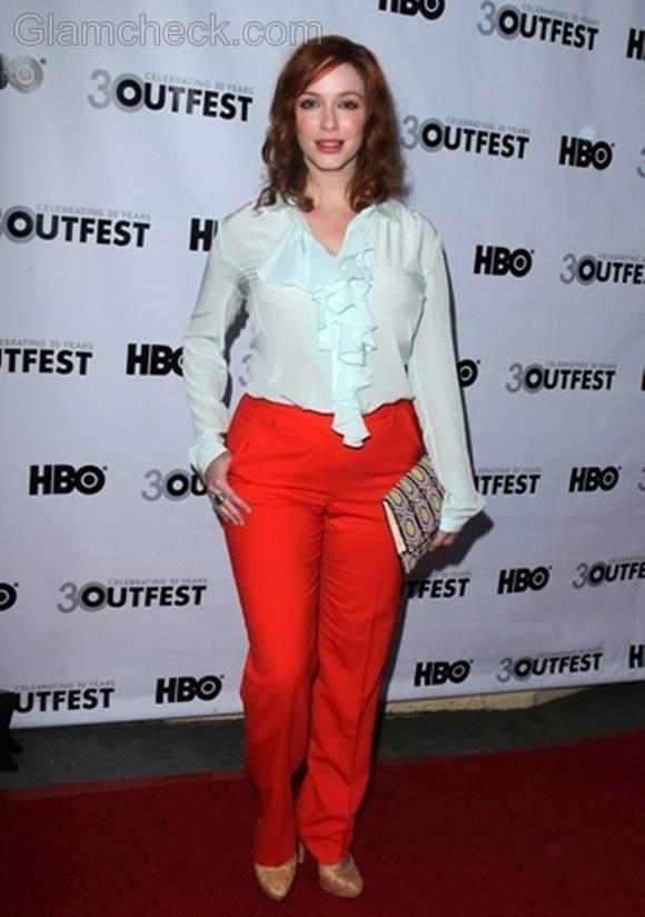 orange pants Christina Hendricks