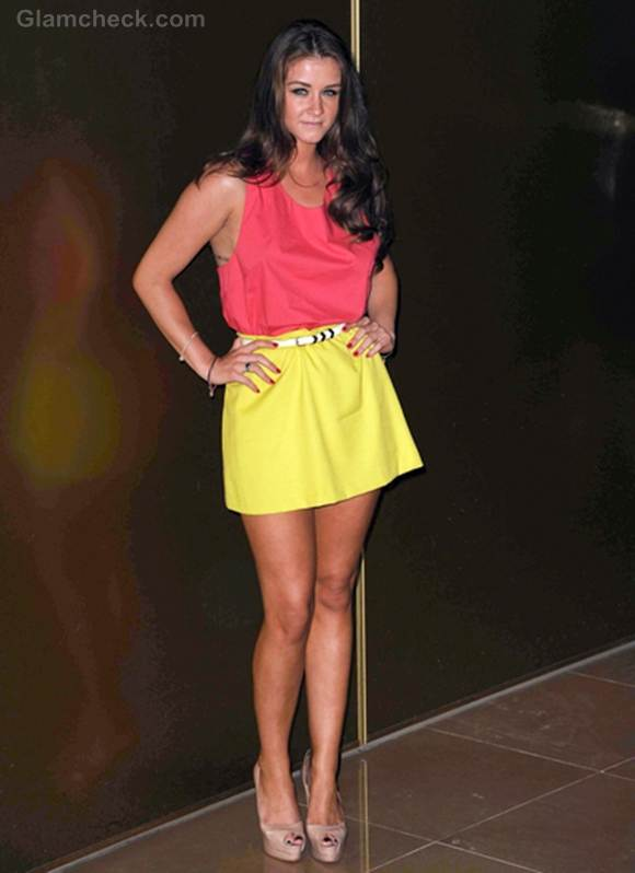 Brooke Vincent sports Yellow-Pink Color Blocked Look