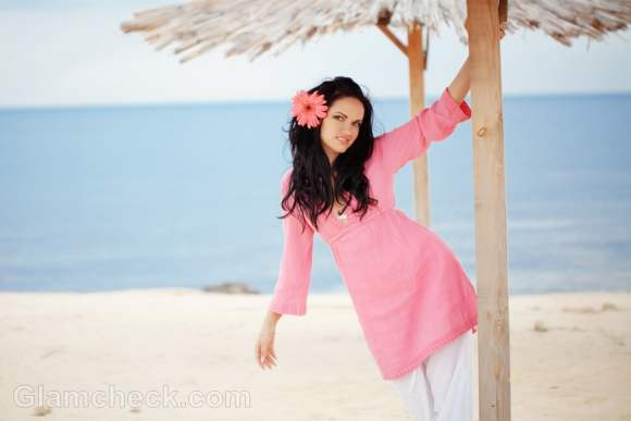 wearing pink and white beach