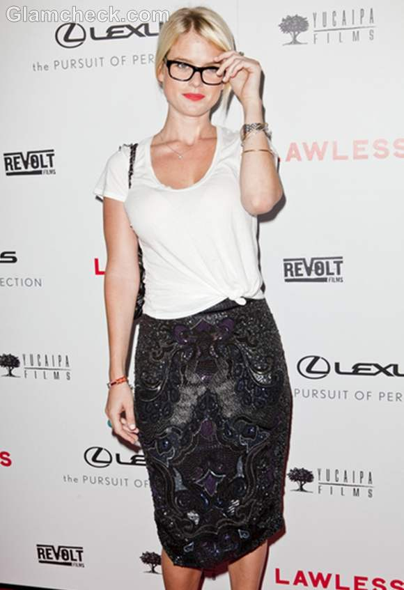 Alice Eve hot school teacher look at Lawless LA Premiere
