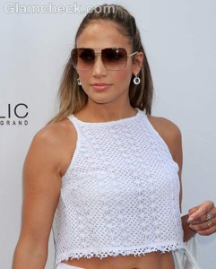 Jennifer Lopez Shows off Midriff in Shorts and Cropped Top