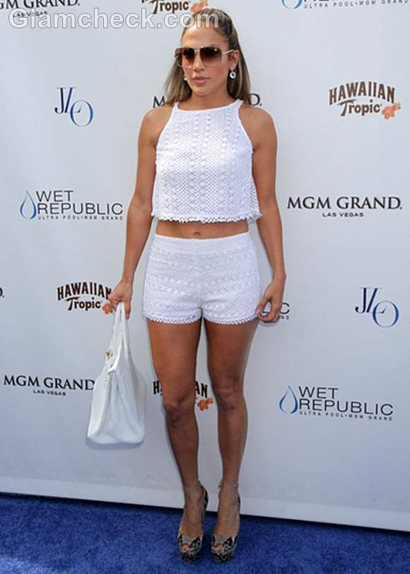 Jennifer Lopez in white Shorts and Cropped Top