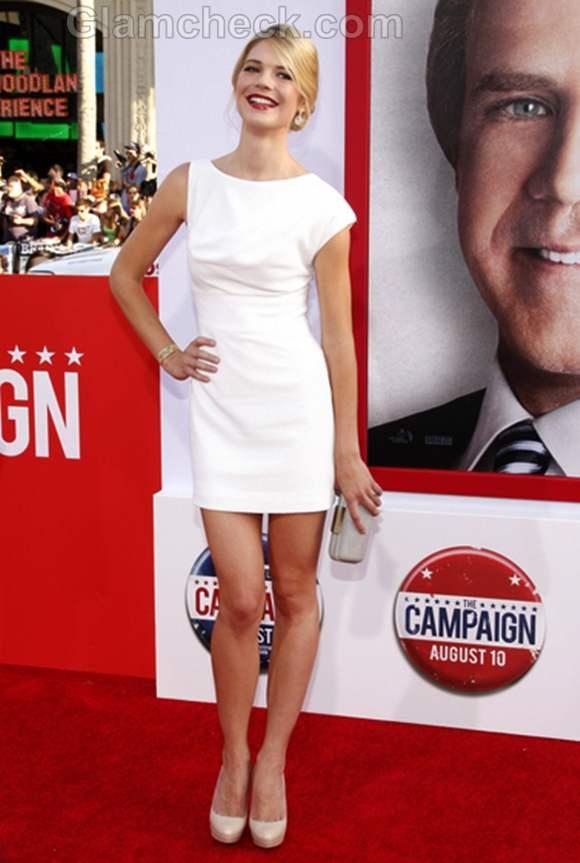 Kate Lang Johnson white dress The Campaign Premiere