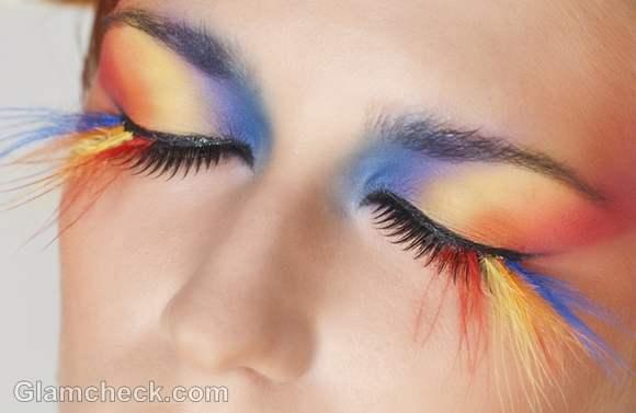 wearing feather eyelashes