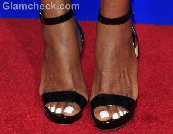 white nails pedicureTasha Smith