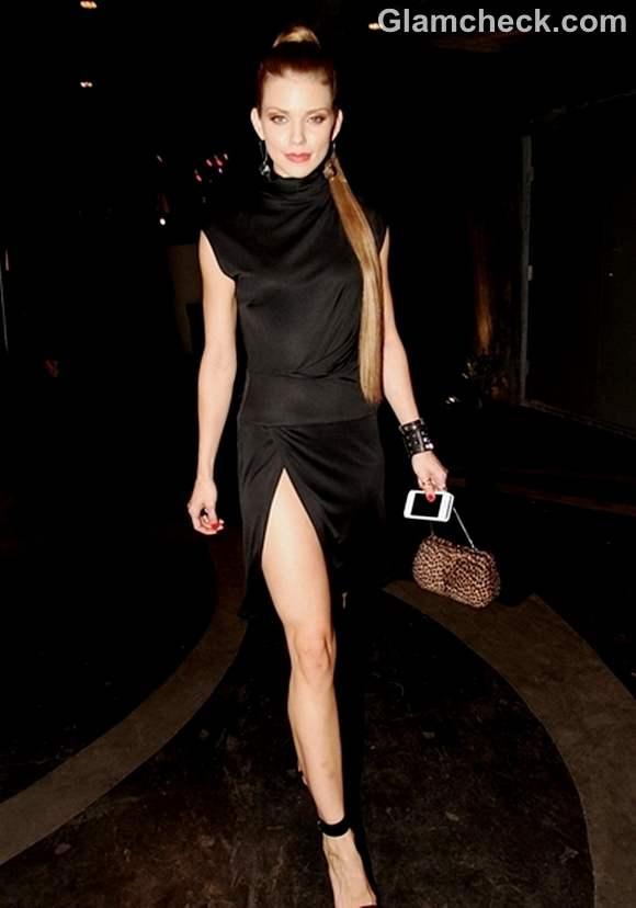 Anna Lynn McCord black thigh-high split dress