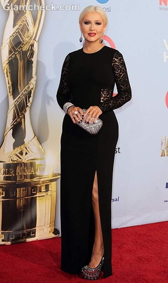 Christina Aguilera lace black dress