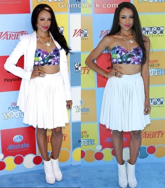 Kat Graham white skirt Floral Bra Top at Power of Youth 2012