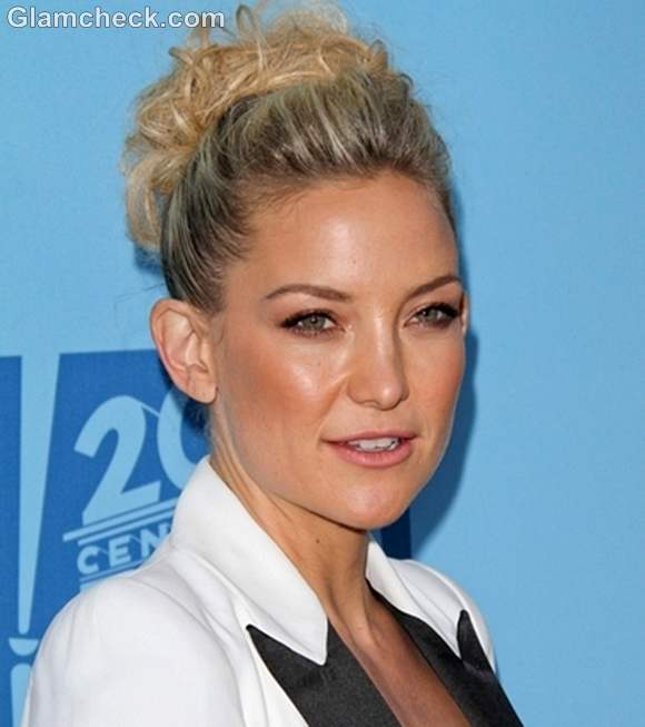 Kate Hudson top knot hairstyle