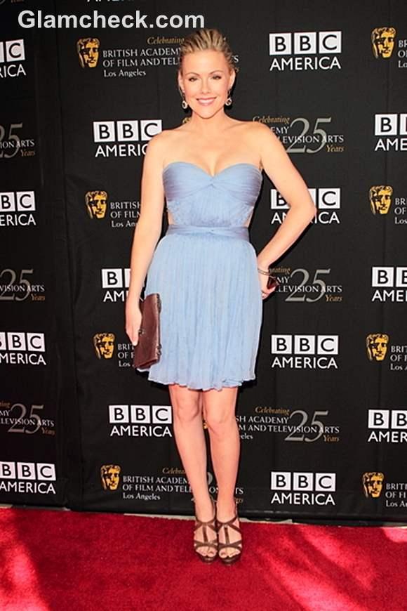 Kathleen Robertson Strapless Cutout Dress