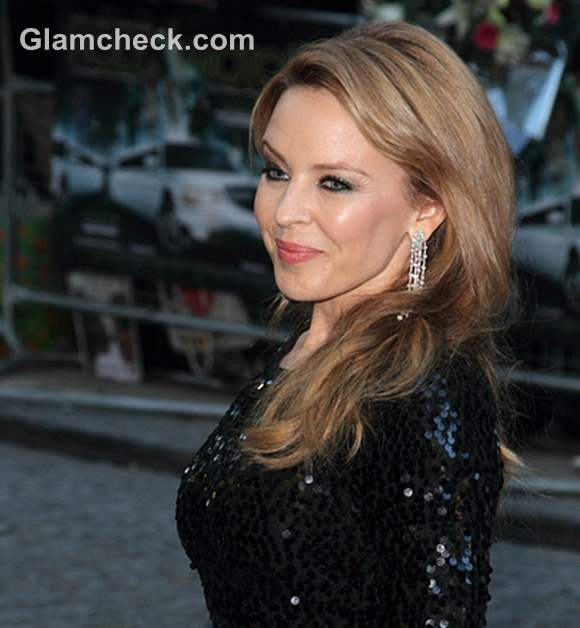 Kylie Minogue In Shimmery Black Dress At Holy Motors Uk