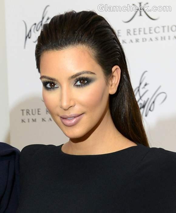 kim kardashian slicked back hairstyle