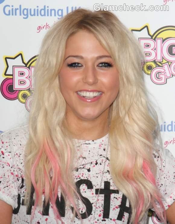 Amelia Lily pink hair streaks
