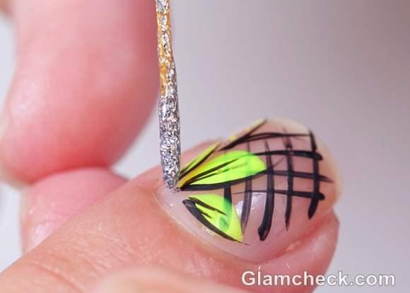 DIY nail art criss cross flower petals-5
