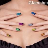 DIY nail art multi colored crystal nails