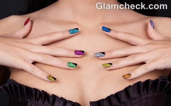 DIY nail art multi colored crystal nails