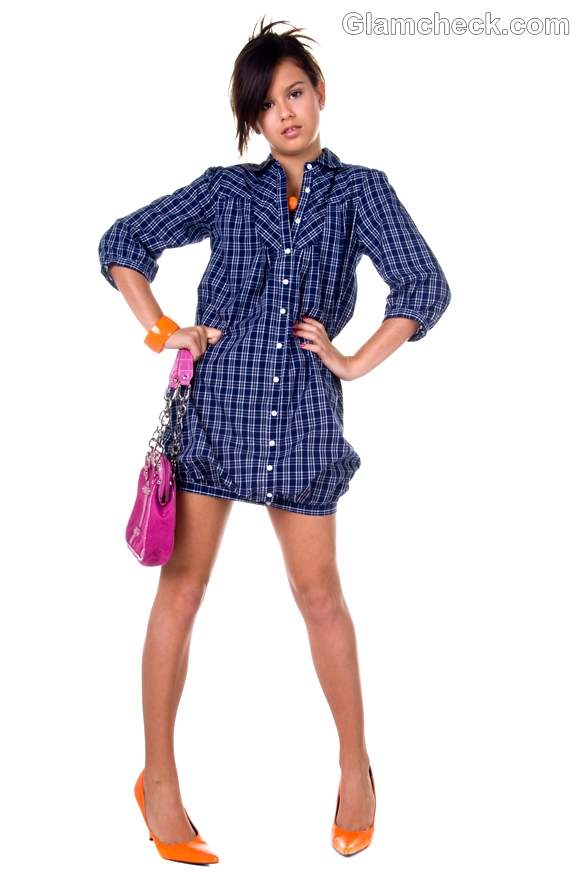 How wear checks plaids shirt dress women