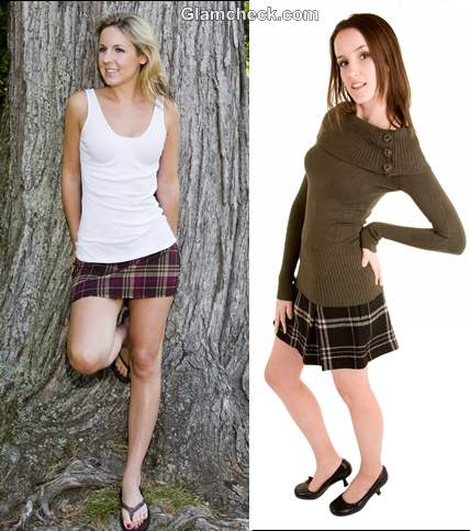 How wear checks plaids women skirts