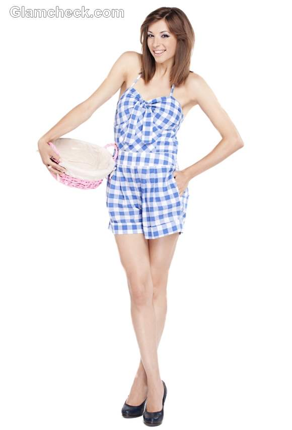 How wear checks Gingham romper women