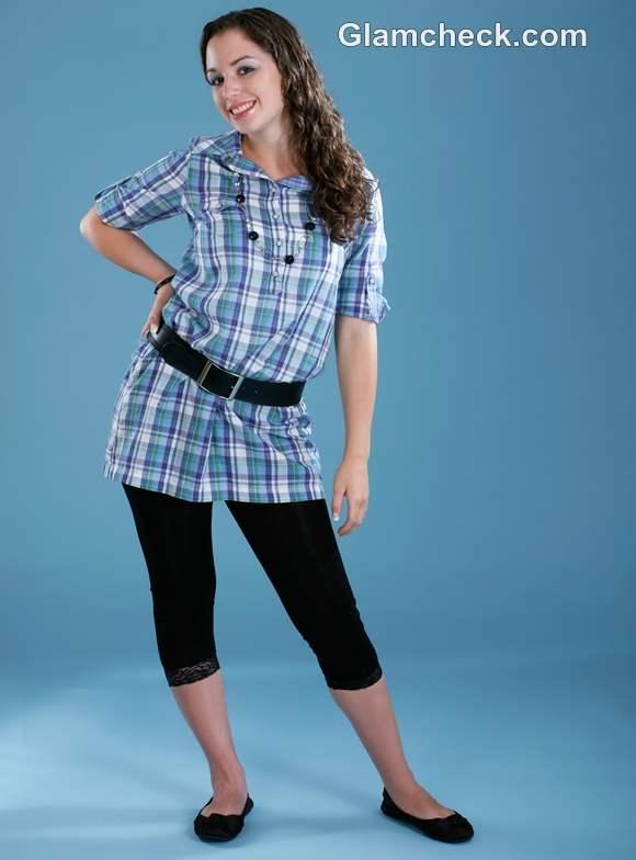 How wear checks tunic women